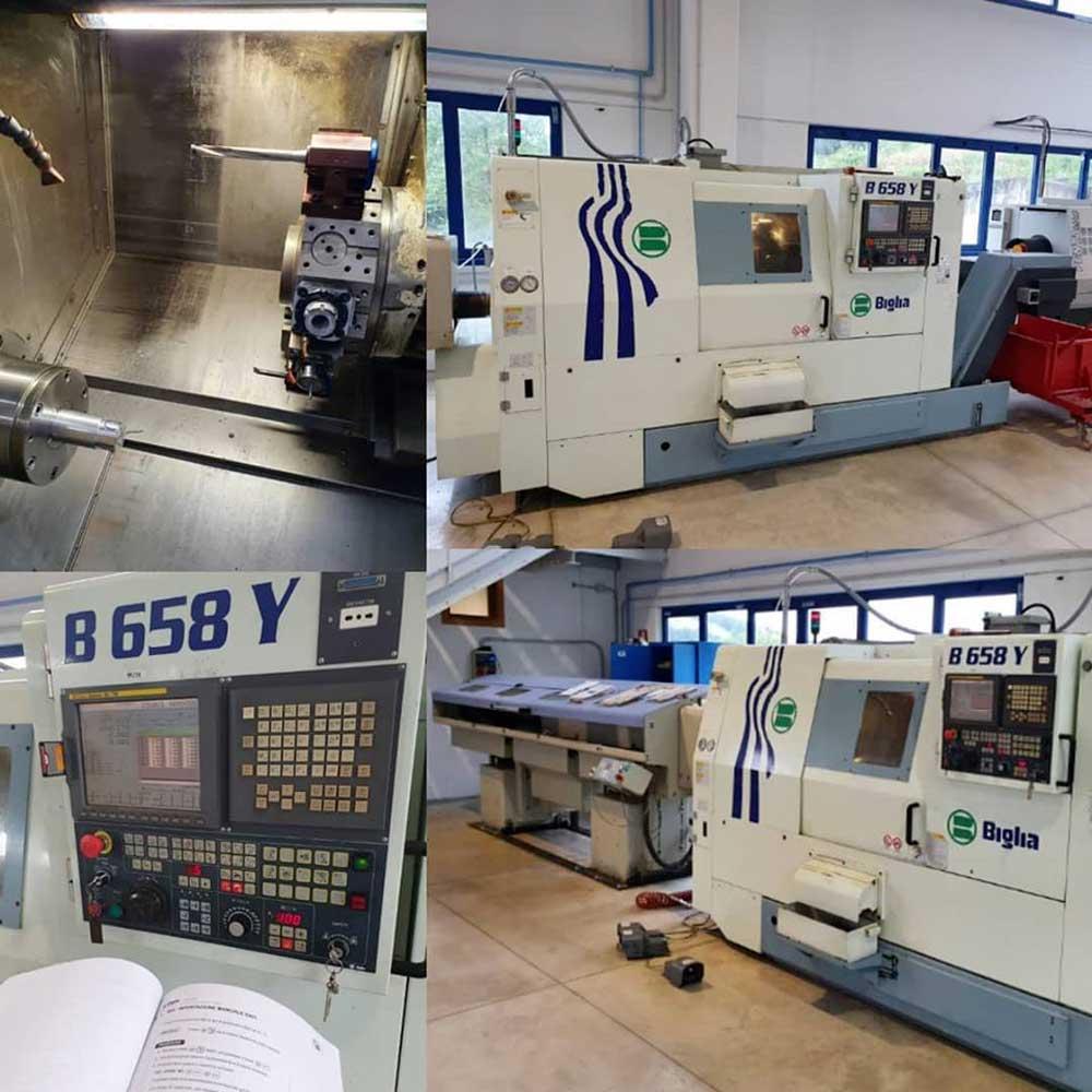Avviamento alla produzione tornio Biglia B658Y con caricabarre Top Automazioni a seguito di installazione, corso di programmazione © Ingenia